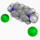 Paraquat, molecular model. Quick_acting and non_selective herbicide toxic to human beings and animals. Atoms are represented as spheres and are colour...