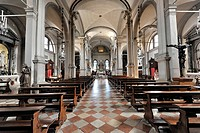 Nave and altar area, Church of San Martino Vescovo, 16th century, Burano, Venice, Veneto region, Italy, Europe