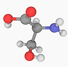 Serine, molecular model. Non_essential proteinogenic amino acid. Atoms are represented as spheres and are colour_coded: carbon grey, hydrogen white, n...