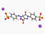 Tartrazine, molecular model. Synthetic lemon yellow azo dye used as a food colouring E102. Atoms are represented as spheres and are colour_coded: carb...