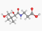 Vitamin B5 pantothenic acid, molecular model. Vitamin required for synthesizing coenzyme_A. Atoms are represented as spheres and are colour_coded: car...