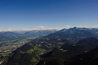 Panoramic view as seen from Untersberg, with Salzachtal valley, Hoher Dachstein mountain, Tennengebirge mountain range, Goellgruppe mountain group and...
