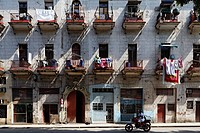 Dilapidated facade of building with balconies, Villa San Cristobal de La Habana, old town, La Habana, Havana, UNESCO World Heritage Site, Republic of ...