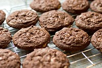 A cooling rack with freshly baked chocolate cookies cooling on it