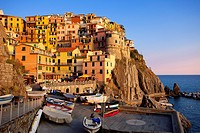 The medieval village of Manarola in The Cinque Terre, Liguria Italy