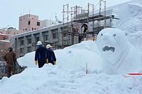 Sapporo Snow Festival, making snow statues