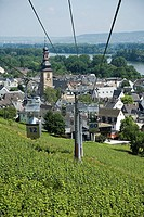 Views of the Rhine, the city of Rüdesheim and the vineyards from the cable car installed for the contemplation of such beautiful landscapes  Rüdesheim...