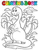 Coloring book dinosaur scene 2 _ picture illustration.