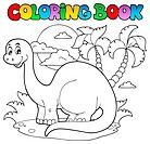 Coloring book dinosaur scene 1 _ picture illustration.