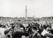From his car, Pope Paul VI, born Giovanni Montini, waving to the faithful crowding the square of the Sanctuary. Fatima, 13th May 1967