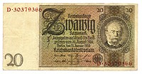 Front of banknote, Reichsbank, value 20 Reichmarks, 1929, Germany, Europe