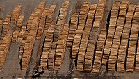 Aerial view, piles of wood, wood industry, Egger Holzwerkstoffe Brilon GmbH & Co KG, Brilon, Sauerland region, North Rhine_Westphalia, Germany, Europe