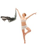 Beauty girl in dance with flying cloth isolated