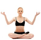 Cute blond girl sit in yoga lotos asana pose
