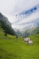 Alm, alpine pastures at Seealpsee lake, in front of Saentis Mountain, Alpstein, Appenzell, Switzerland, Europe