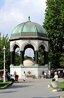Alman Cesmesi, German fountain, donated by German Emperor Wilhelm II, Egyptian and Brick Obelisks at back, Hippodrome, At Meydani, Istanbul, Turkey