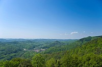 View of the Palatinate Forest from the Madenburg castle ruins, Eschbach, German Wine Route, Suedliche Weinstrasse district, Pfalz, Rhineland-Palatinat...