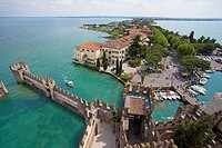 View from the Castello Scaligero fortress on the peninsula, Sirmione, Lake Garda, Brescia province, Lombardy, Italy, Europe