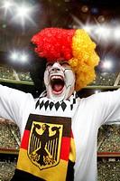 German football fan screaming