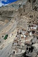 Phuktal's swallow nest Monastery, Tsarap River, Zanskar, Ladakh, Indian Himalayas, Jammu and Kashmir, North India, India, Asia