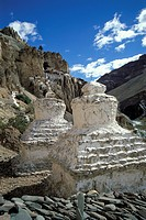 Chorten, Phuktal Monastery, Purni, Zanskar, Ladakh, Indian Himalayas, Jammu and Kashmir, North India, India, Asia
