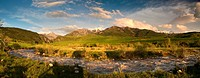 Sunset panorama of gorgeous mountain range
