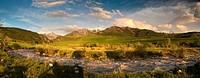 Sunset panorama of gorgeous mountain range