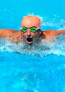 Swimmer swimming butterfly style