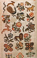 Embroidery, England 17th century. Linen embroidered sampler, with silk and metal threads, 1700 -1750.  London, Victoria And Albert Museum