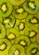 Sliced kiwi fruits closeup