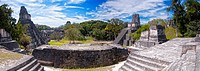 Panoramic view of the Mayan ruins of Tikal in Guatemala