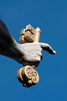 Detail of Saint Peter´s Statue Holding Key to Heaven, Saint Peter´s Square, Vatican City, Rome  Italy