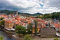 Overlook on the Cesky Kromlov _ a beautiful medieval town in Czech Republic