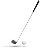 Golf Ball and Club vector illustration, ball is detailed, with dimples and all the curves