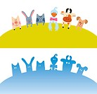Cartoon farm animals card color and silhouette