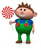 cute cartoony brown haired boy with lollipop _ 3d illustration/rendering