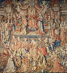 Prudence, 16th century tapestry based on a cartoon by Bernaert van Orley, manufacture of Brussels, from the series Honors.  La Granja De San Ildefonso...