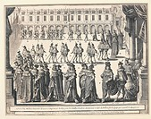 Fashion, France, 16th-17th century - Procession of the Knights of Fointanbleau, May 14, 1633, engraving by M. Tavernier.  Versailles, Château De Versa...