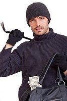 thief with money bag and crowbar _ isolated on white background