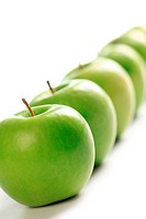 line of green apples