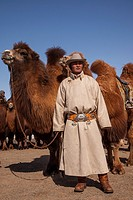 Spectator, Bactrian camel race, 25km across winter landscape of Gobi desert during Bulgan's 'festival of a thousand camels' , Mongolia