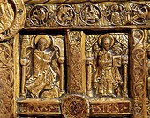 Goldsmith's art, Denmark, 12th century. Golden altar frontal from Lisbjerg near Aarhus, 1125-1150. Detail: Virtues of Peace and Hope.  Copenhagen, Nat...