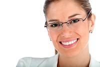 Beautiful business woman wearing glasses _ isolated over a white background