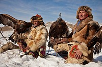 Kazak eagle hunters from far western province of Bayan Olgii compete in winter festival, Mongolia