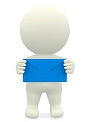 3D person holding an envelope with both hands over a white background