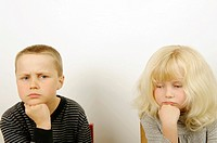 Stock Photo of two children thinking