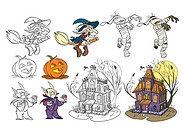 Cartoon style halloween set. Color and black and white. Vector size available.