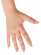 Female hand with nail art _ figure a camomile. It is isolated on a white background