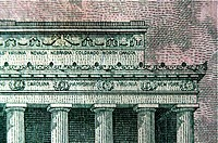 Close_up of Lincoln Memorial on a five dollar bill