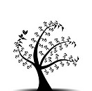 Abstract art tree and birds isolated on white background